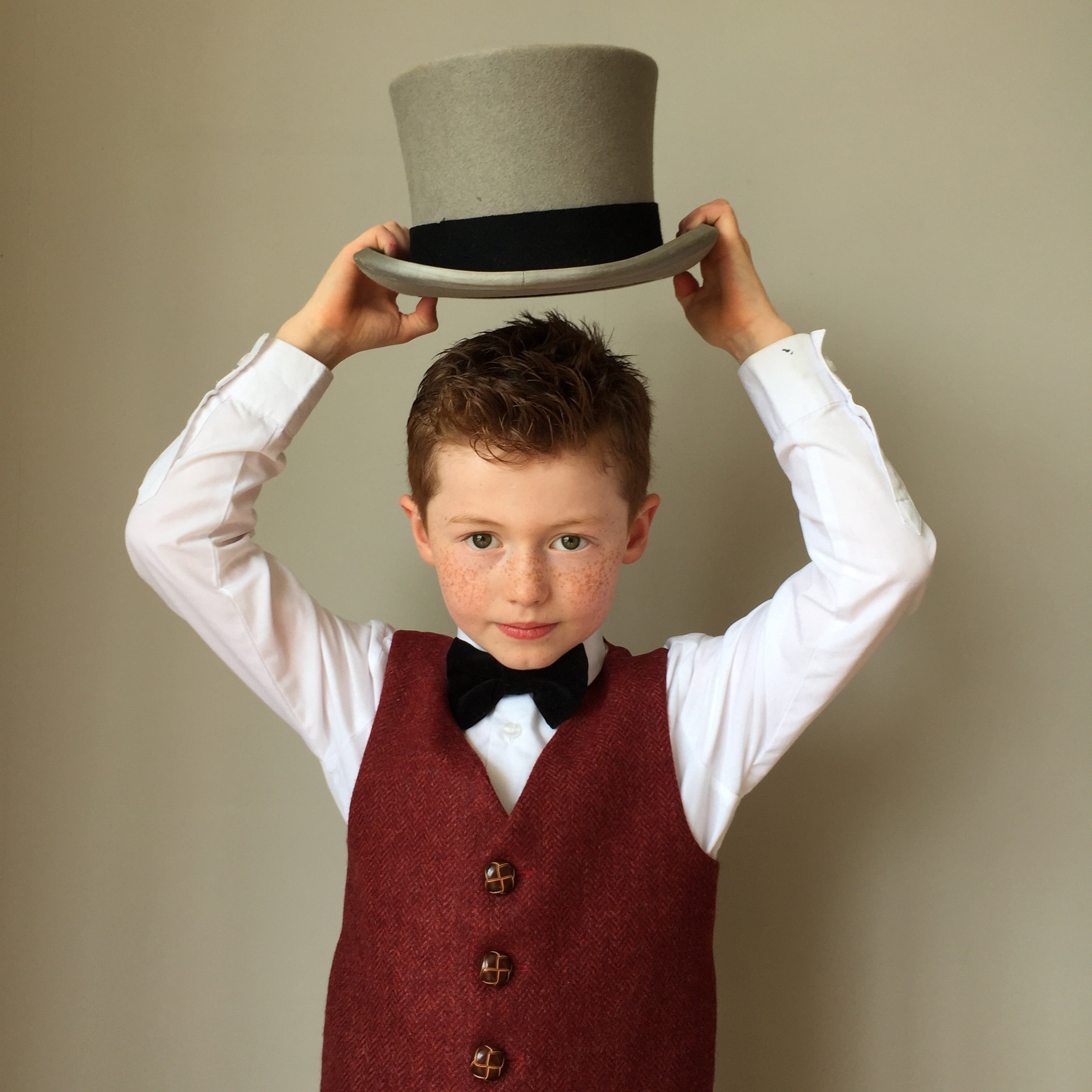 'Hugo' Boys waistcoat handmade in a rich luxurious British red Tweed