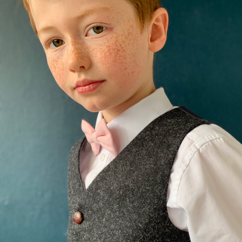 'Captain Frederick Wentworth' Boys waistcoat handmade in a charcoal British Tweed