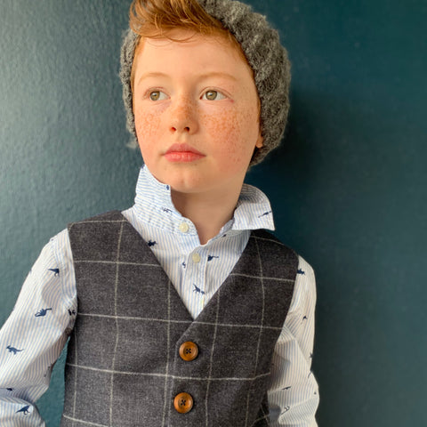 'Frank Bullitt' Boys waistcoat handmade in a ink blue British lambswool with fog window check