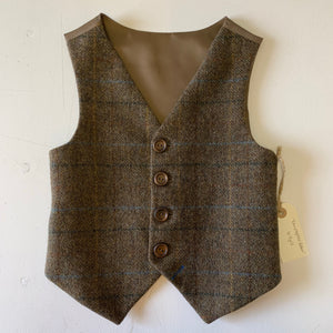 SAMPLE SALE 'Christopher Robin' Boys waistcoat handmade in a chocolate British wool check size 6-7 years