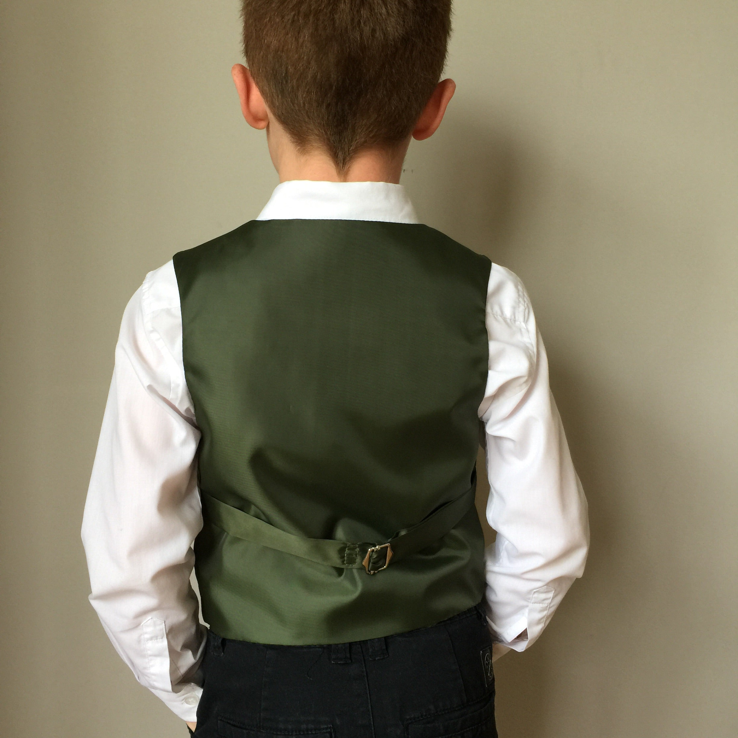 'Marius Pontmercy' boys waistcoat handmade in a moss and sea green herringbone British tweed - Limited Edition