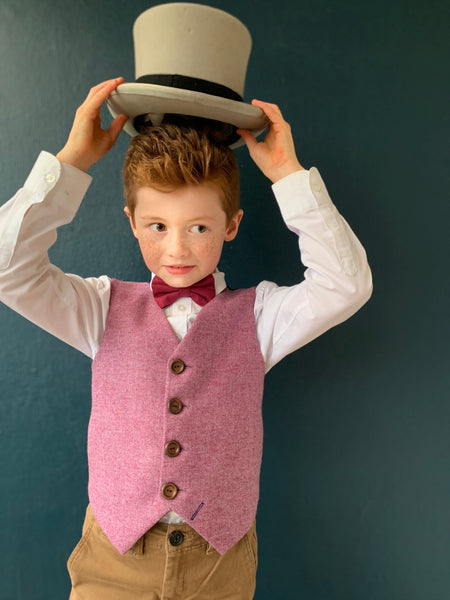 SAMPLE SALE 'Cary Grant' boys waistcoat handmade in a 100% British tweed SIZE 7-8 years