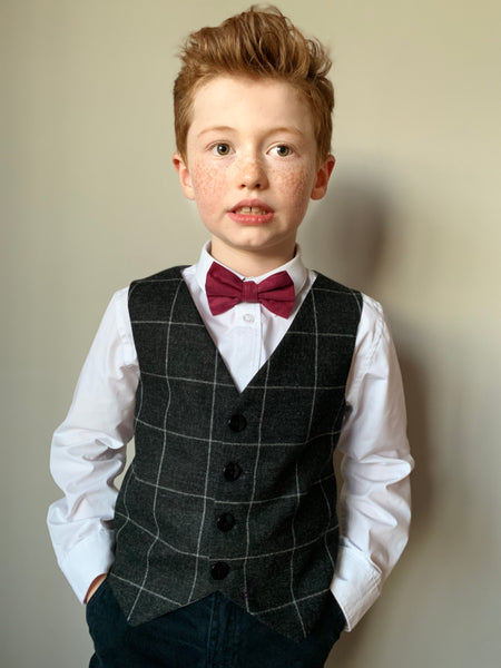 Boys waistcoat, British lambswool waistcoat, pageboy outfit, boys clothing, charcoal with grey overcheck waistcoat - Mr Banks
