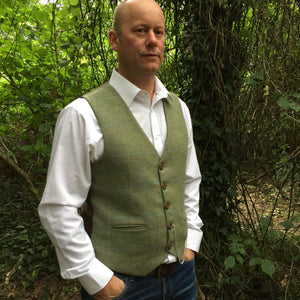 'Lord M' Mens green waistcoat handmade in British wool check