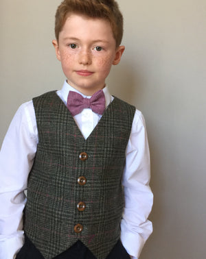 'Jim Hawkins' Boys waistcoat handmade in green Shetland Wool dog tooth with purple over check.