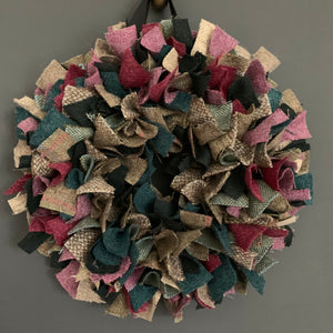 Luxury Small Tweed Christmas wreath in festive greens, rhubarb and mulberry shades 'Vixen'