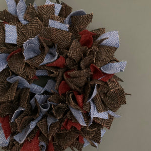 Luxury Small Tweed Christmas wreath in rich browns and vibrant blue 'Donner'