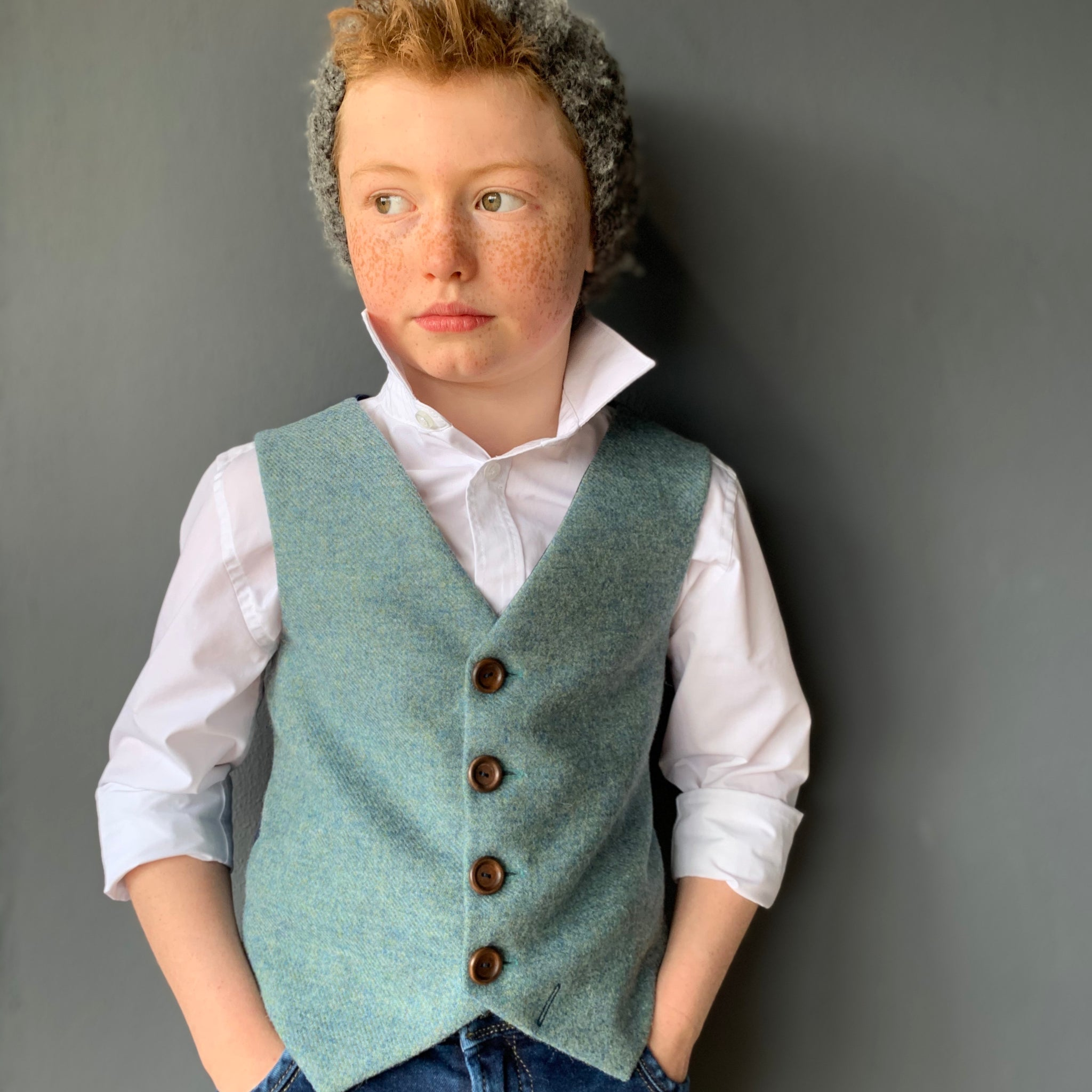 SAMPLE SALE 'P.T.Barnum' Boys waistcoat handmade in dolphin blue British tweed SIZE 7-8