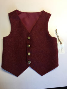 sample Boys waistcoat 7-8yrs in a rich red shetland wool  'Hugo vintage buttons'