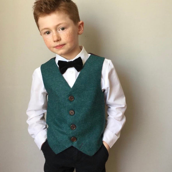 SAMPLE SALE 'Bilbo' Boys waistcoat handmade in a Teal British wool size 7-8 years