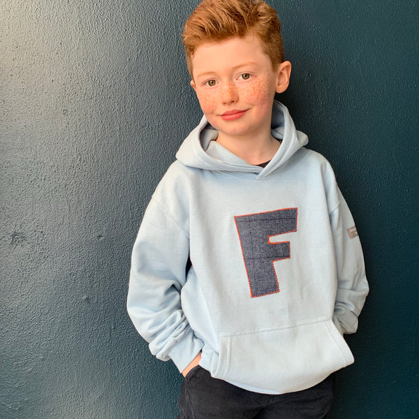 personalised hoodies, boys hoodies, girls hoodie, personalised gifts, design your own hoody - sky blue personalised initial hoodies