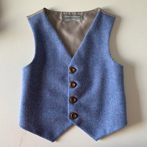 SAMPLE SALE 'Pip' Boys waistcoat handmade in a soft blue herringbone British Tweed size 7-8 years