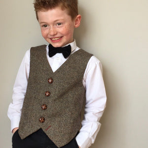 'Benjamin Button' Boys waistcoat handmade in natural British Tweed
