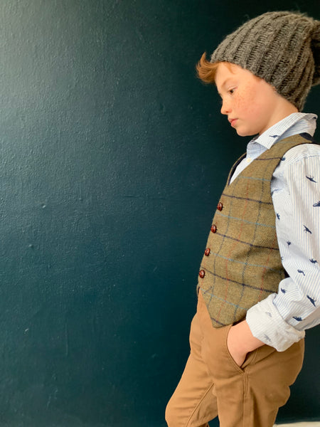 'Master George' Boys waistcoat handmade in soft olive green shetland wool with red, navy and blue over check.