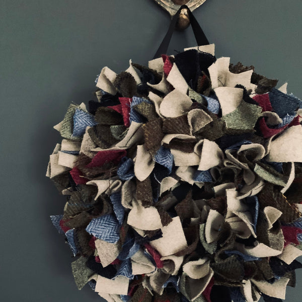 Luxury Small Tweed Christmas wreath in a mix of greens, neutrals with splashes of blue and cherry 'Comet'