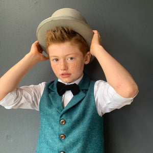 'Bilbo' with lapels Boys waistcoat handmade in a Teal British wool