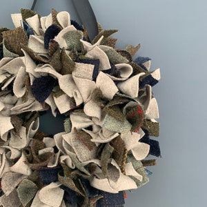 Luxury mini Tweed Christmas wreath in a mix of naturals, browns, greens and blues