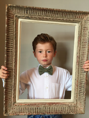 Boys green check bow tie, boys tweed bow tie, mens bow tie, bow ties made to order, pageboy bow tie, groom bowtie - Lord M