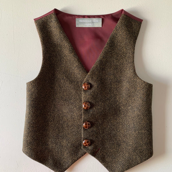 SAMPLE SALE  'Orlando' Boys waistcoat handmade in a chocolate brown herringbone British Tweed size 7-8 years