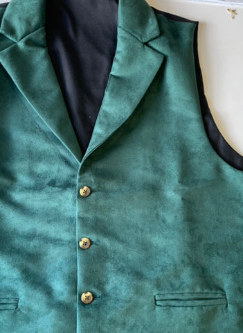 Custom order - Boys Moleskin Green Waistcoat with lapel collar