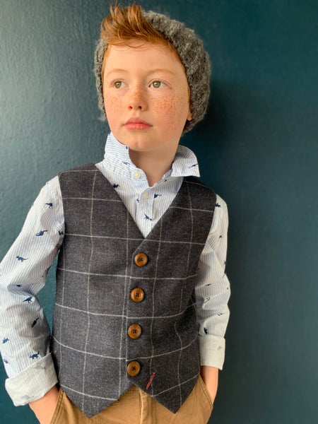 Boys waistcoat, lambswool waistcoat, pageboy outfit, boys clothing, charcoal and ink blue check waistcoat - Frank Bullitt