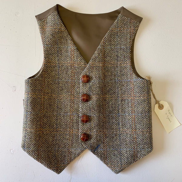 SAMPLE SALE 'Rupert' Boys waistcoat handmade in Harris Tweed size 6-7 years