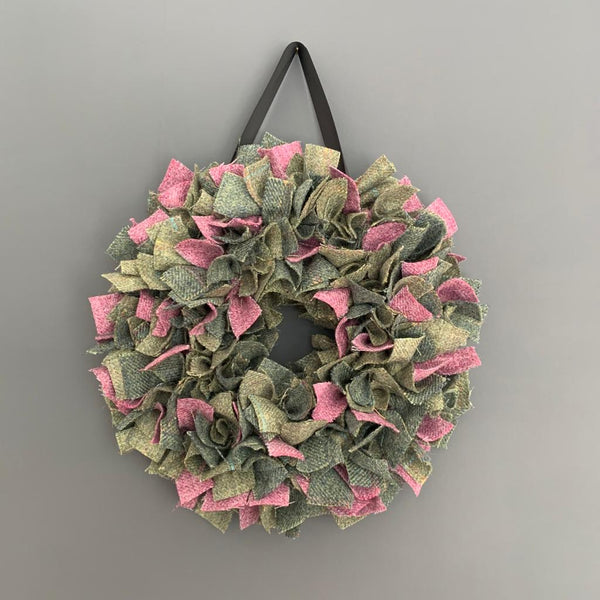 Luxury mini Tweed Christmas wreath in soft greens with pink highlights