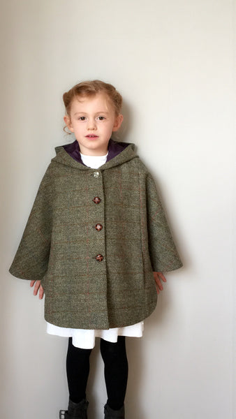 Girls Harris Tweed Wool Cape handmade - fully lined with hood 'Iris'