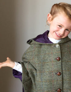 girls cape, girls Harris Tweed cape, girl fashion, girls coat, equestrian cape, green check cape - Iris