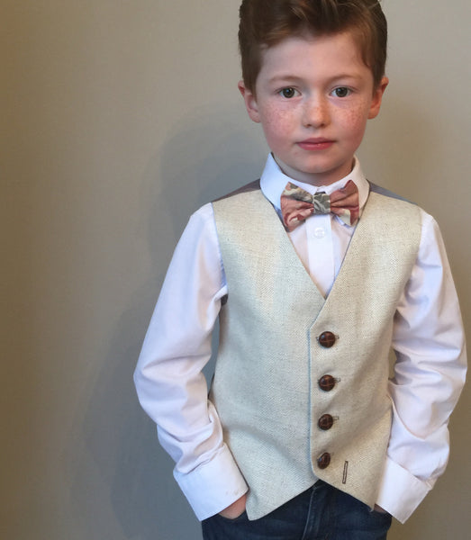 sample 'Jerry Travers' 6-7 years Boys waistcoat handmade in a cream linen mix