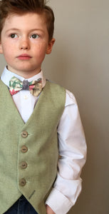 Sample 'Jimmy Cricket' 5-6 years Boys waistcoat handmade in a soft lime green herringbone wool