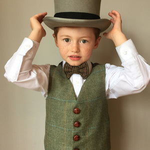 'Lord M' Boys waistcoat handmade in British wool check