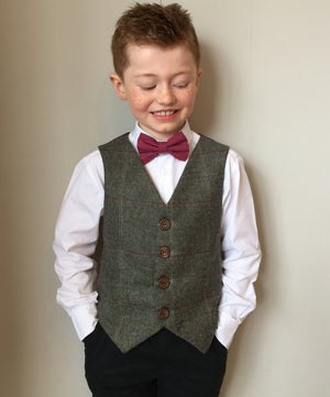 'Michael Banks' Boys waistcoat handmade in green British wool check