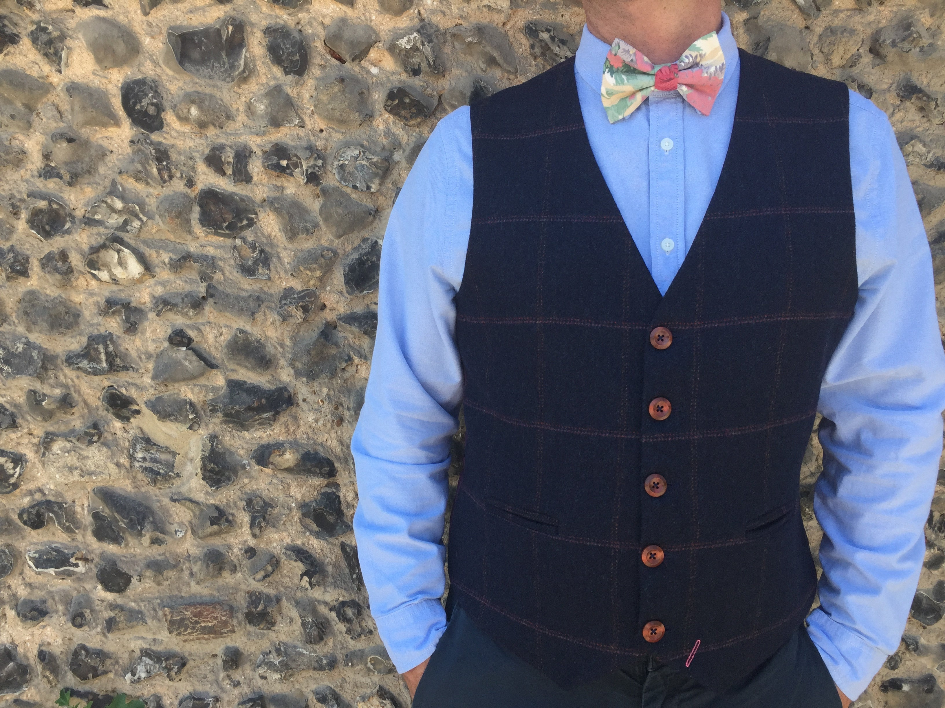 'Tom Branson' Mens waistcoat handmade in a deep navy British tweed with large check
