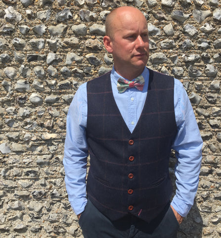 Mens waistcoat, British Tweed waistcoat, groom outfit, mens clothing, Dark blue waistcoat with over check - Tom Branson