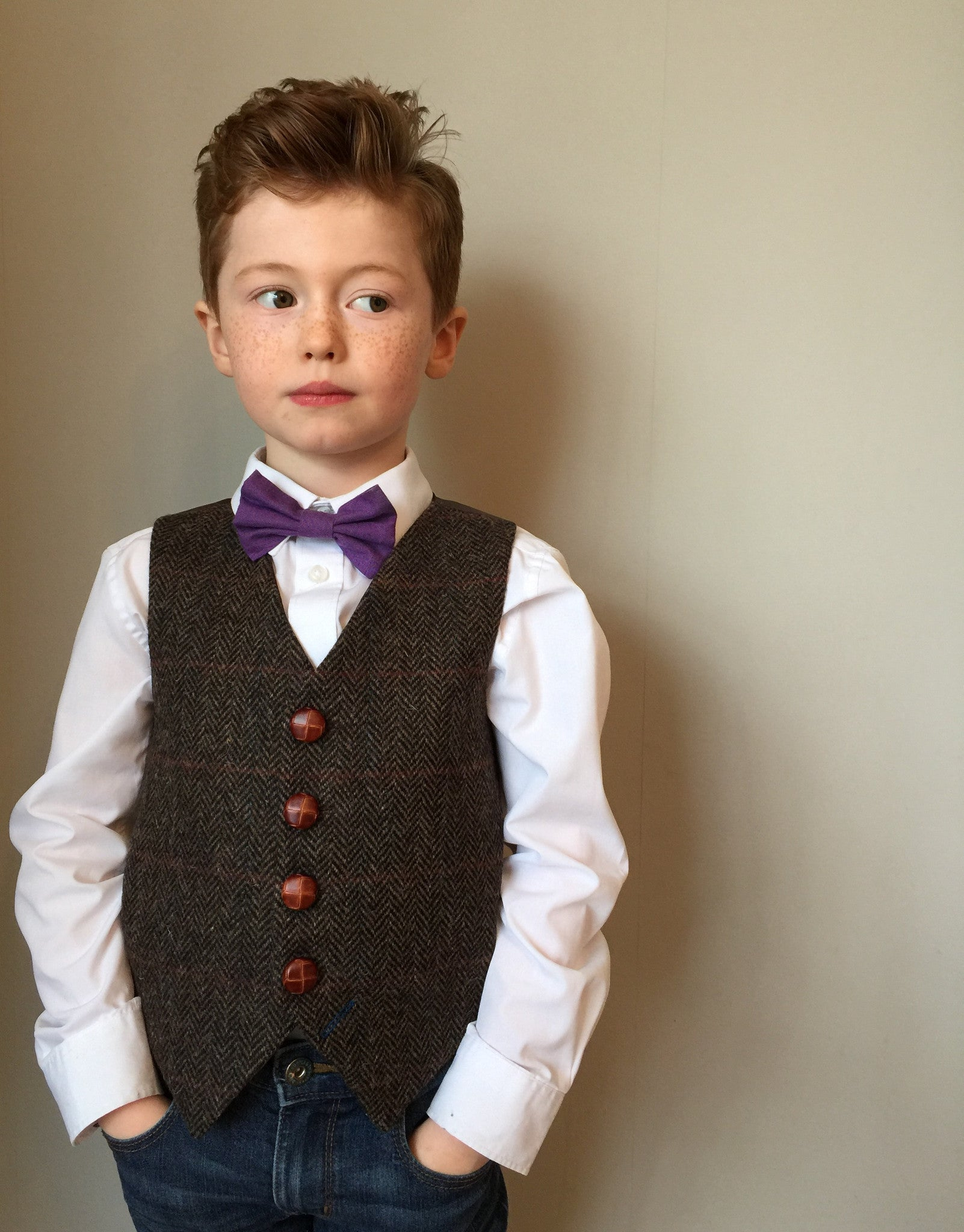 'Newt' Boys waistcoat handmade in chocolate brown Harris Tweed