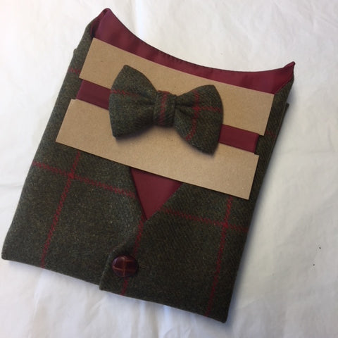 Boys olive green bow tie, boys Tweed bow tie, mens bow tie, bow ties made to order, pageboy bow tie, groom bowtie - Caractacus Potts