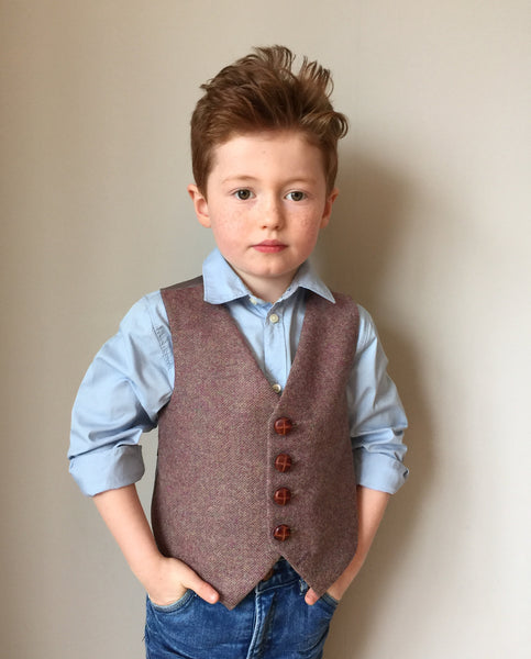 Sample 'Oscar' 5-6 years Boys waistcoat handmade in a herringbone blend of subtle purples and lime
