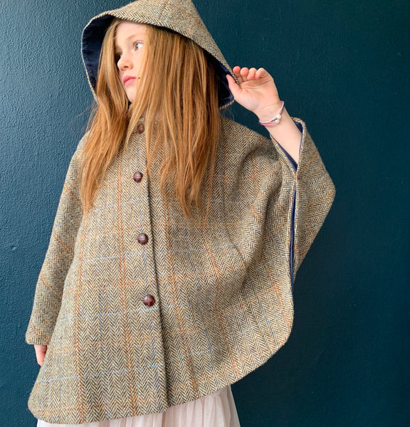 'Iris' Girls brown Harris Tweed hooded Cape  - Hand Made in England