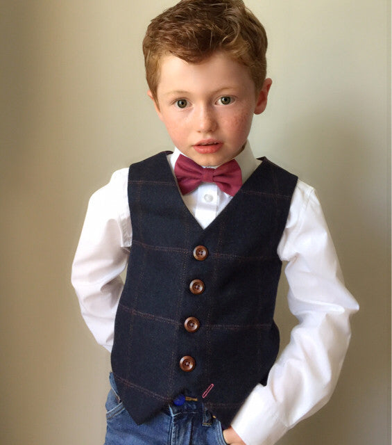 'Tom Branson' Boys waistcoat handmade in a navy tweed wool with large check
