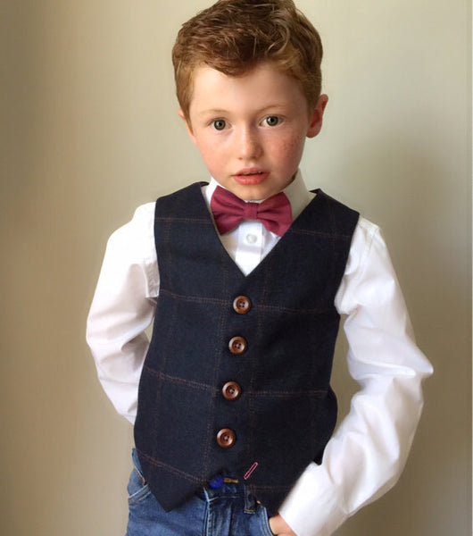 Boys waistcoat, British Tweed waistcoat, pageboy outfit, boys clothing, Dark blue waistcoat with over check - Tom Branson