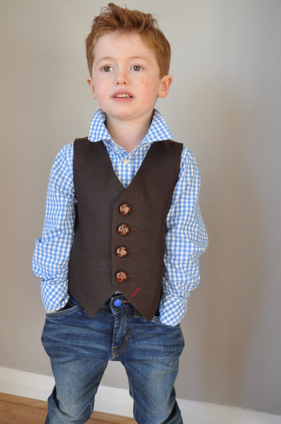 Boys waistcoat, wool waistcoat, pageboy outfit, boys clothing, chocolate brown waistcoat - Bugsy