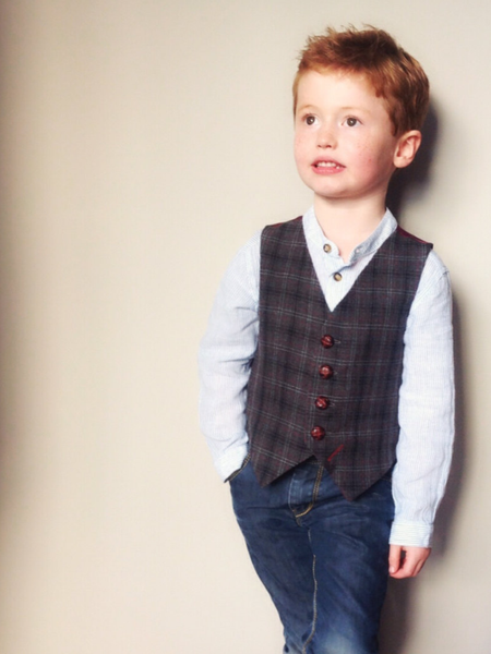 Sample 5-6 years Boys waistcoat grey black and red check  'Mr Darling'