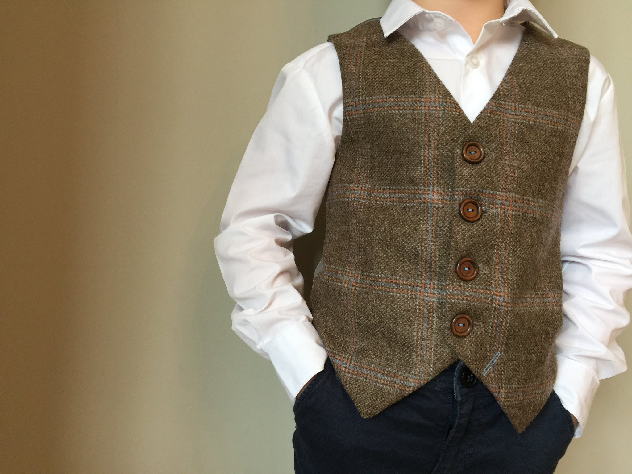 Sample 'William Blake' 6-7 years boys waistcoat handmade in a soft brown British tweed