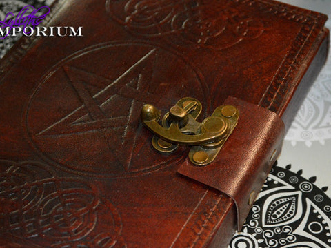 pentagram leather bound journal Book of Shadows