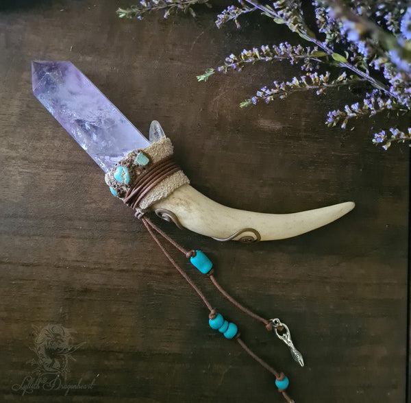 Handcrafted Antler wand with Smokey Amethyst Quartz - Lylliths Emporium Australian Witchcraft