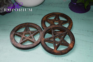 Altar tiles wood, pagan tools, altar tools, pentagram -  Lylliths Emporium, wicca pagan witchcraft spiritual supplies Australia
