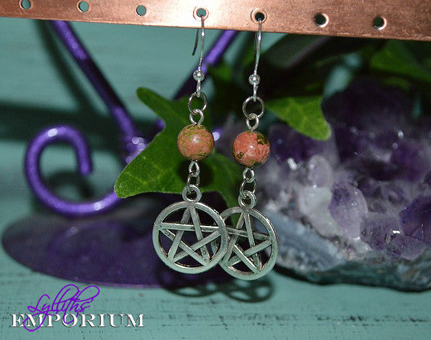 Pentagram Gemstone Earrings ~ Unakite