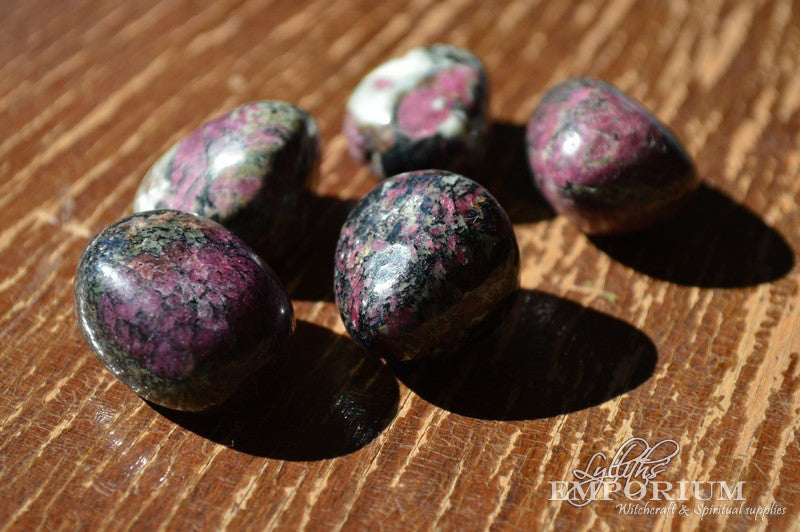 eudialyte, crystals, gemstones, tumble stones, protection -  Lylliths Emporium, wicca pagan witchcraft spiritual supplies Australia