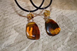 Amber pendant - leather cord
